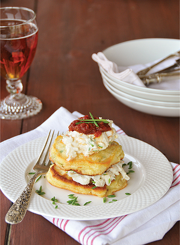 corncakes and crab salad
